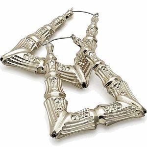 Jewelry - Silver Triangular Bamboo Earrings